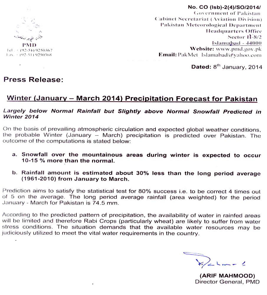 Weather Advisory & Press Releases